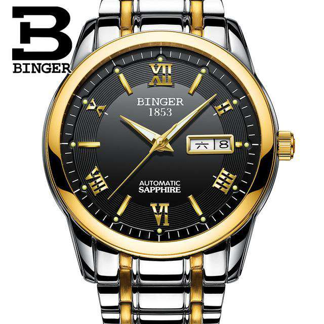 2017 Top Luxury Brand BINGER Men Automatic Mechanical Watch Full Steel Mens Watches Sports Military Wrist Watches Waterproof