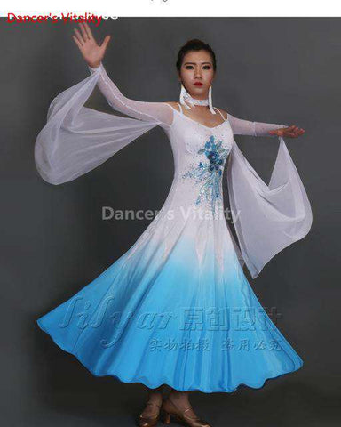 2017 new Ballroom Dance Costumes Senior Embroidery Long Sleeves Ballroom Dance Dress For Women Ballroom Dance Competition Dresse, colour 1 / XL, www.suppashoppa.co.uk