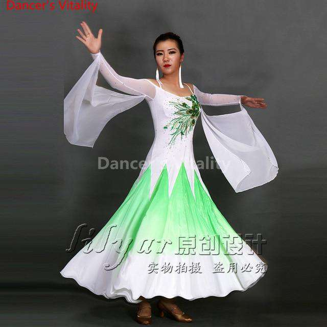 2017 new Ballroom Dance Costumes Senior Embroidery Long Sleeves Ballroom Dance Dress For Women Ballroom Dance Competition Dresse, colour 3 / XL, www.suppashoppa.co.uk