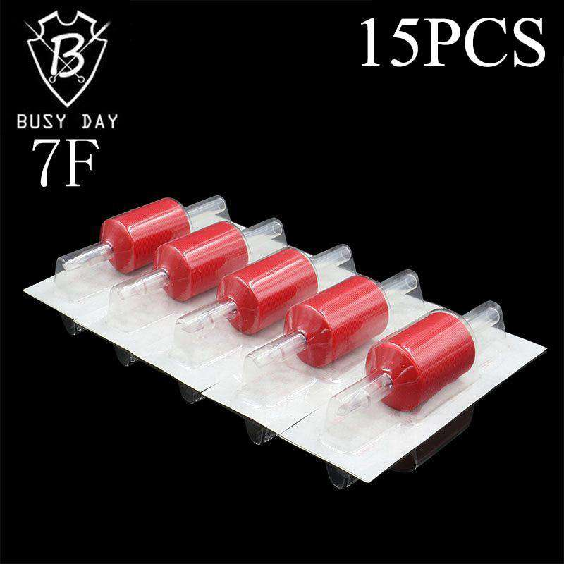30MM 15PCS 7F Red Tattoo Grips Disposable Tubes Transparent Rubber Plastic Tubes For Free Shipping