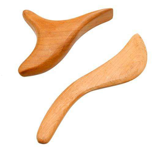WSSROGY 2 Pcs Wooden Wood Gua Sha Scraping Massage Tool Natural Hand Made Sandalwood Guasha Board for Graston SPA Acupuncture