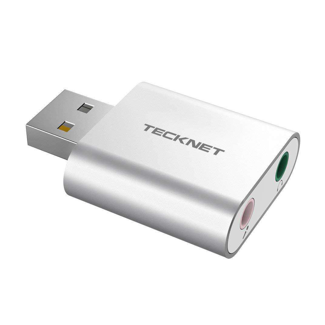 TeckNet USB Audio Adapter External Stereo Sound Adapter Aluminum with 3.5mm Speaker/Headphone and Microphone Jacks For Windows and Mac, Plug and Play, No drivers Needed