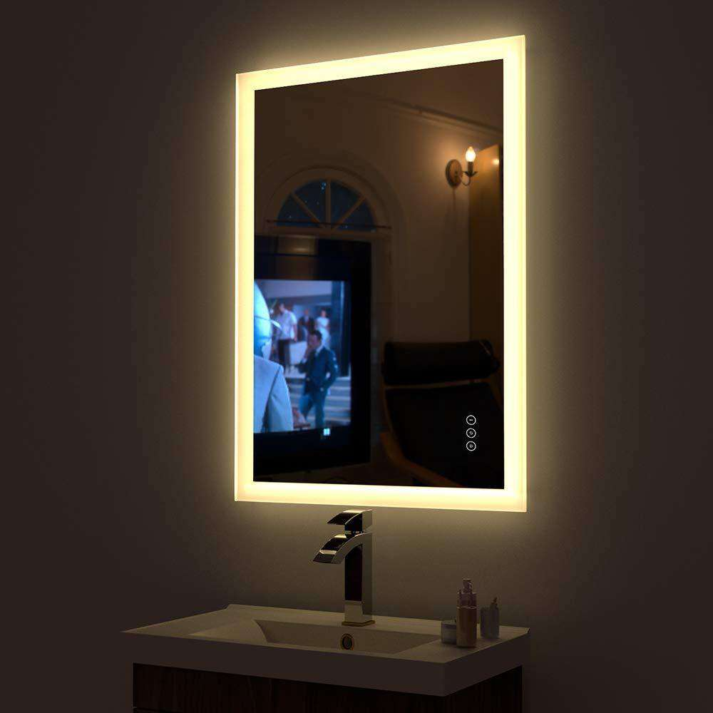 HAUSCHEN 36 x 28 inch LED Lighted Bathroom Wall Mounted Fogless Mirror with Adjustable 3000K (Warm White) / 5500K (Daylight) Color Temperature Changing and Dimmable Memory Touch Button