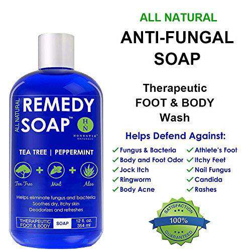 Antifungal Soap with Tea Tree Oil. Foot & Body Wash. Fungus Soap Helps Treat Athlete's Foot, Nail Fungus, Ringworm, Jock Itch, and Yeast Infections. Antibacterial Tea Tree Body Wash Great for Acne and Skin Irritations. ALL NATURAL Fungus and Bacteria Kill