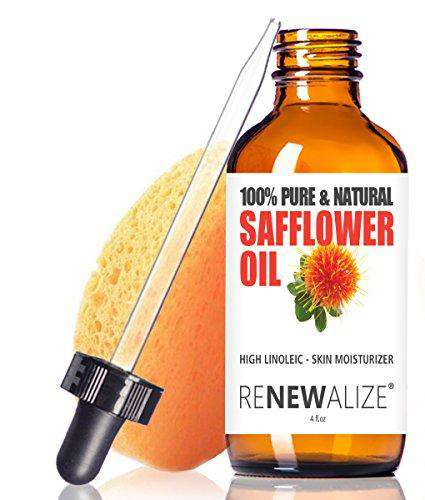 SAFFLOWER SEED OIL FACE MOISTURIZER - 4 oz. Dark Glass Bottle with Dropper | High linoleic facial serum regimen for acne and oily skin | Best all natural breakout skincare treatment for men and women