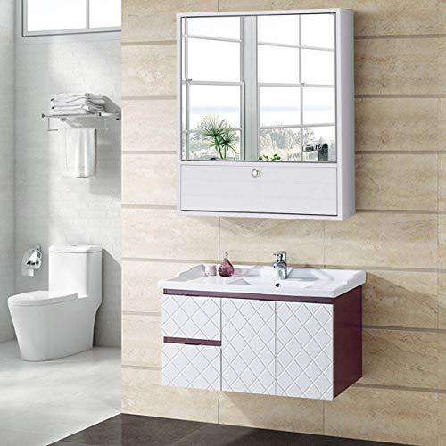 Tangkula Bathroom Cabinet Double Mirror Doors Wall-Mounted Storage Organization, Wooden Adjustable Shelf Medicine Cabinet, White