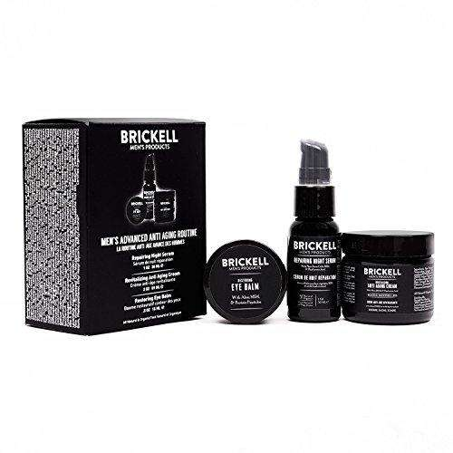 Brickell Men's Advanced Anti-Aging Routine - Night Face Cream, Vitamin C Facial Serum and Eye Cream - Natural