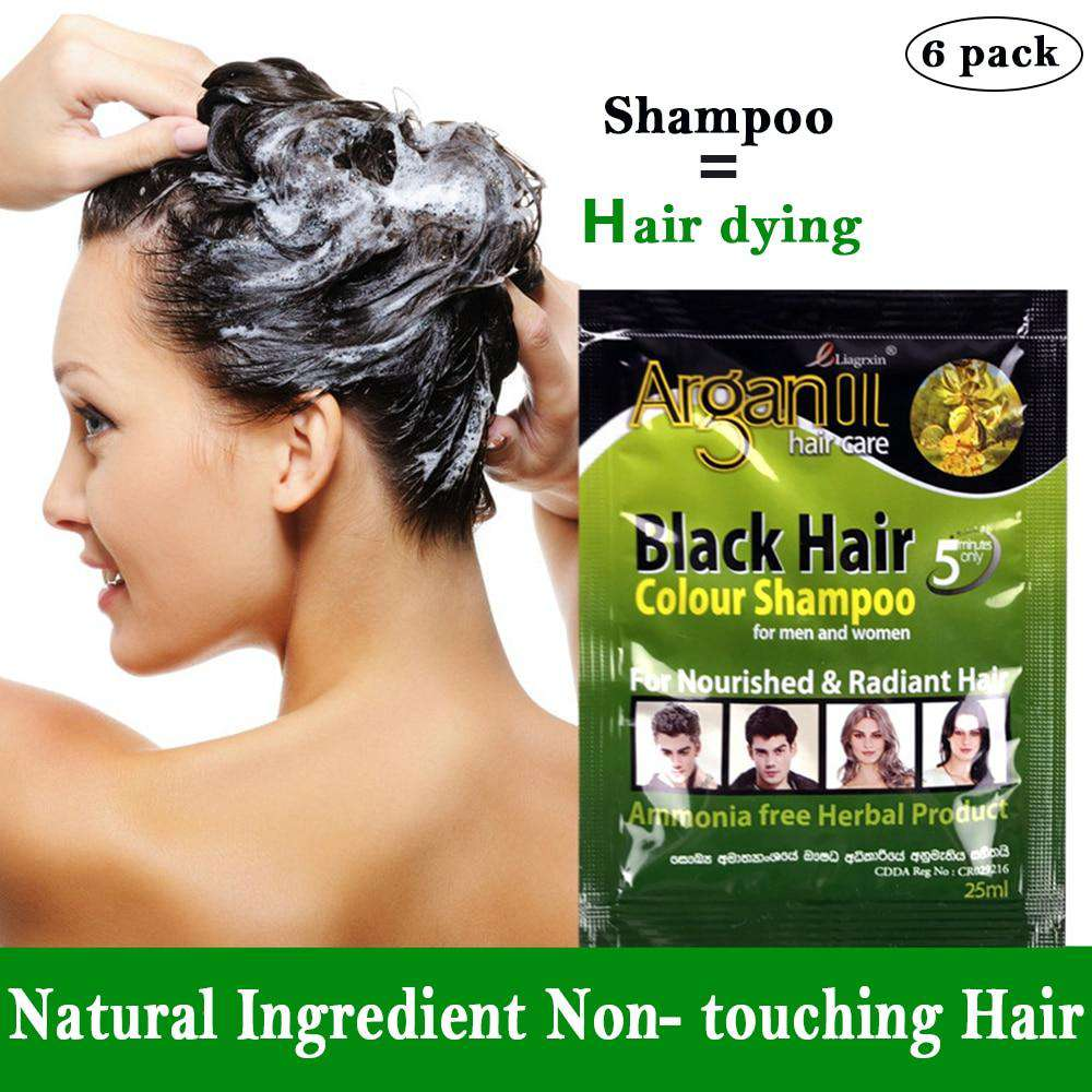 6 pcs Black Hair Shampoo Grey Hair Removal Dye White Become Black Hair Coloring for Men and Women