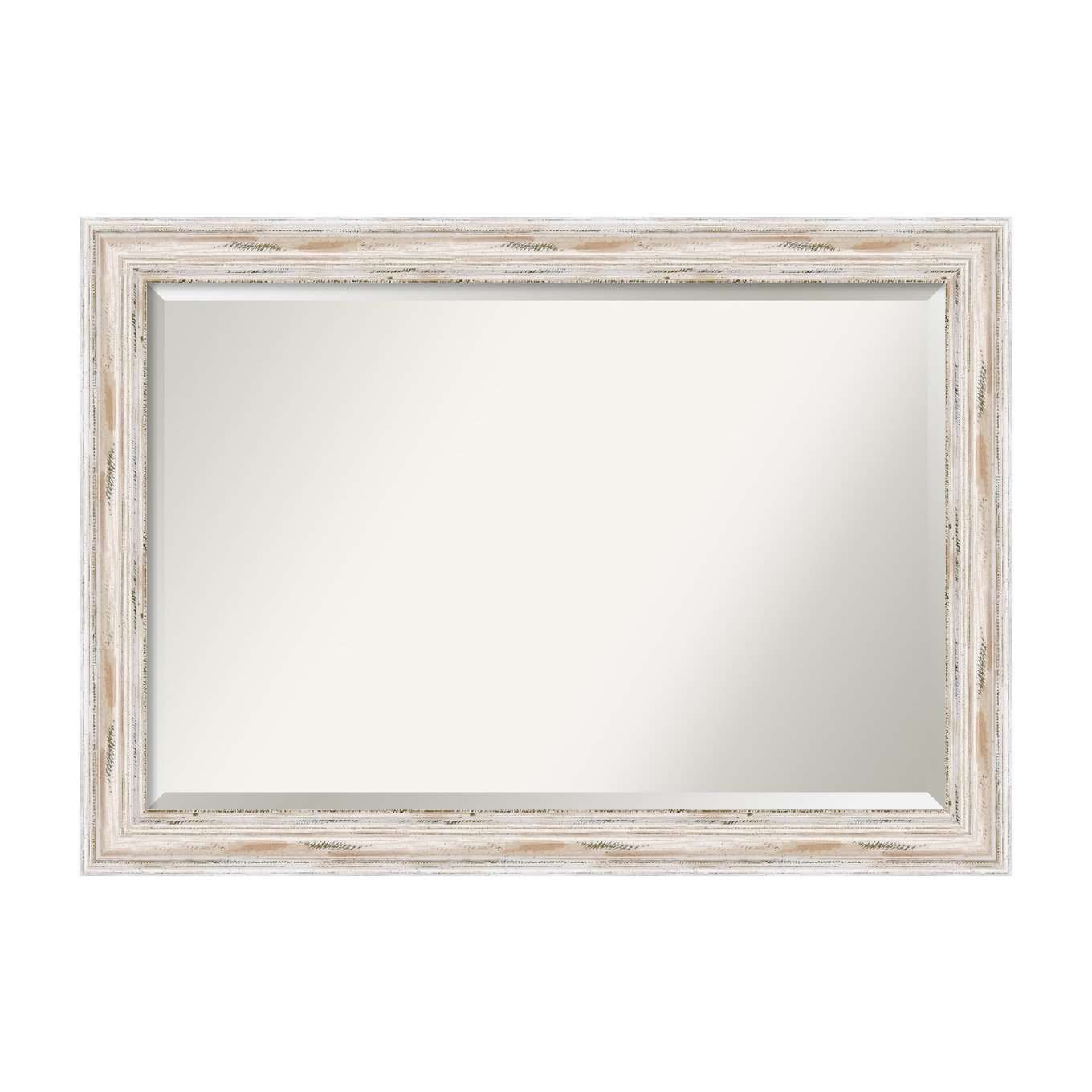 Amanti Art Alexandria White Wash Bathroom Mirror Medium Large, Large-23 x 29