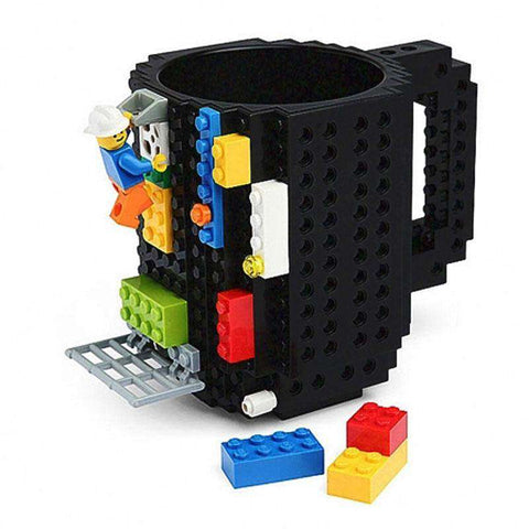 1 Piece Build a Brick Mug Building Blocks Coffee Cups Frozen Coffee Mug DIY Block Puzzle Lego Mug 12oz 350 ml Christmas Gift, Black, www.suppashoppa.co.uk