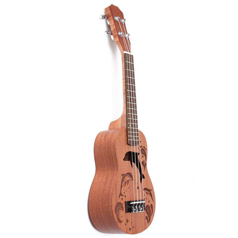 "Zebra 21"" Mini Sapele Dolphin Pattern Ukulele Rosewood Fingerboard 4 Strings Guitarra Guitar For Musical Instruments Beginner"