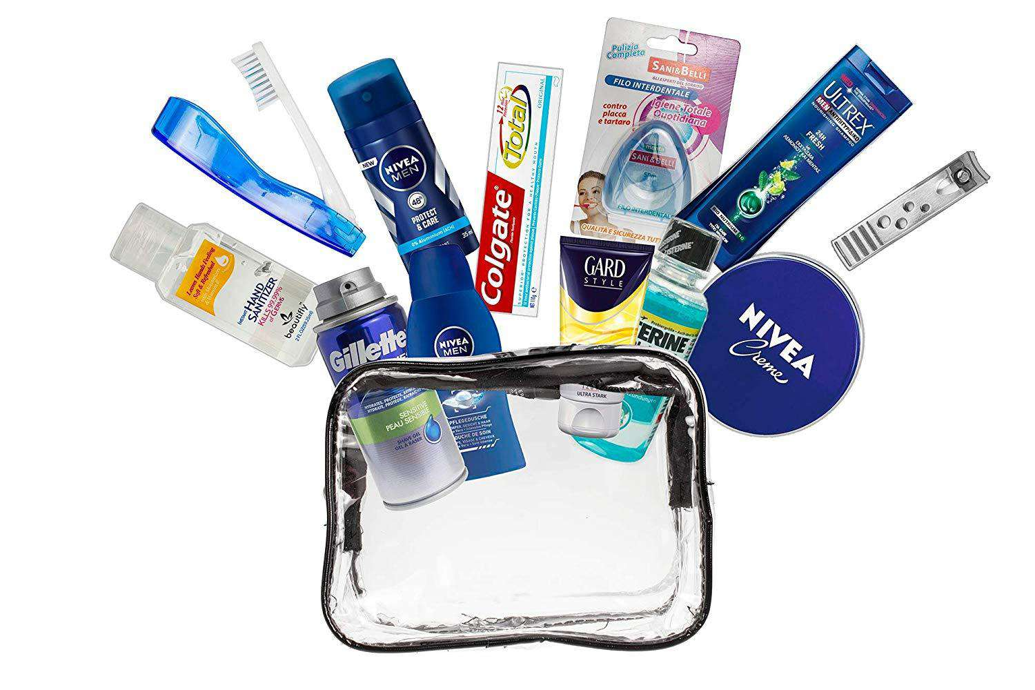 Women 13-Piece Convenience Travel Size kit, Suitable for Cabin Luggage, Vacation and Business Trips, comprising All Necessary Personal Care Branded Products, in a PVC Vanity case. Cabin Approved.