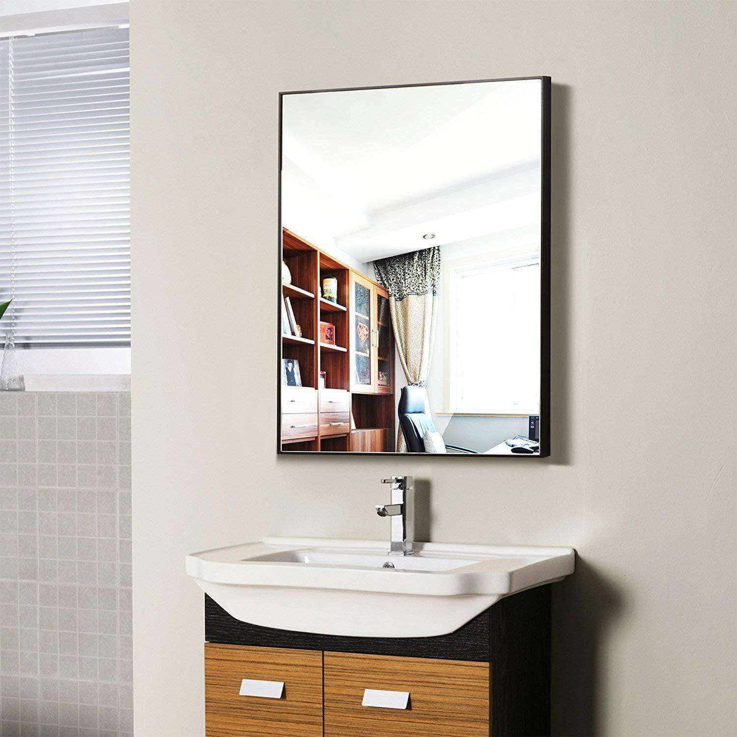 Hans & Alice Large Rectangular Bathroom Mirror, Wall-Mounted Wooden Frame Vanity Mirror Black (38x26)