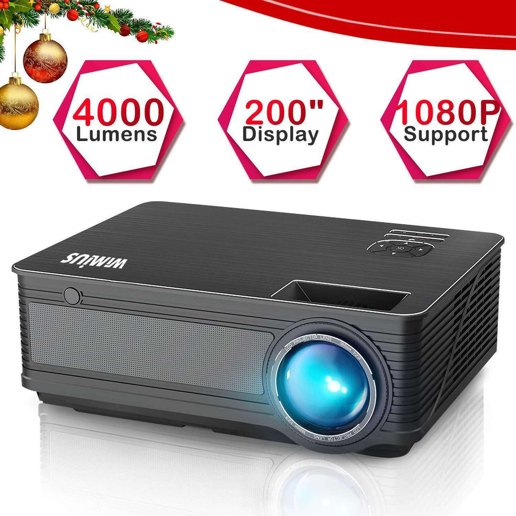 "Projector,WiMiUS P18 Video Projector HD 4000 Lumens LED Projector 200"" LCD Home Cinema Theater Projector Support 1080P HDMI VGA AV USB for Home Entertainment, Party and Games (Black)"