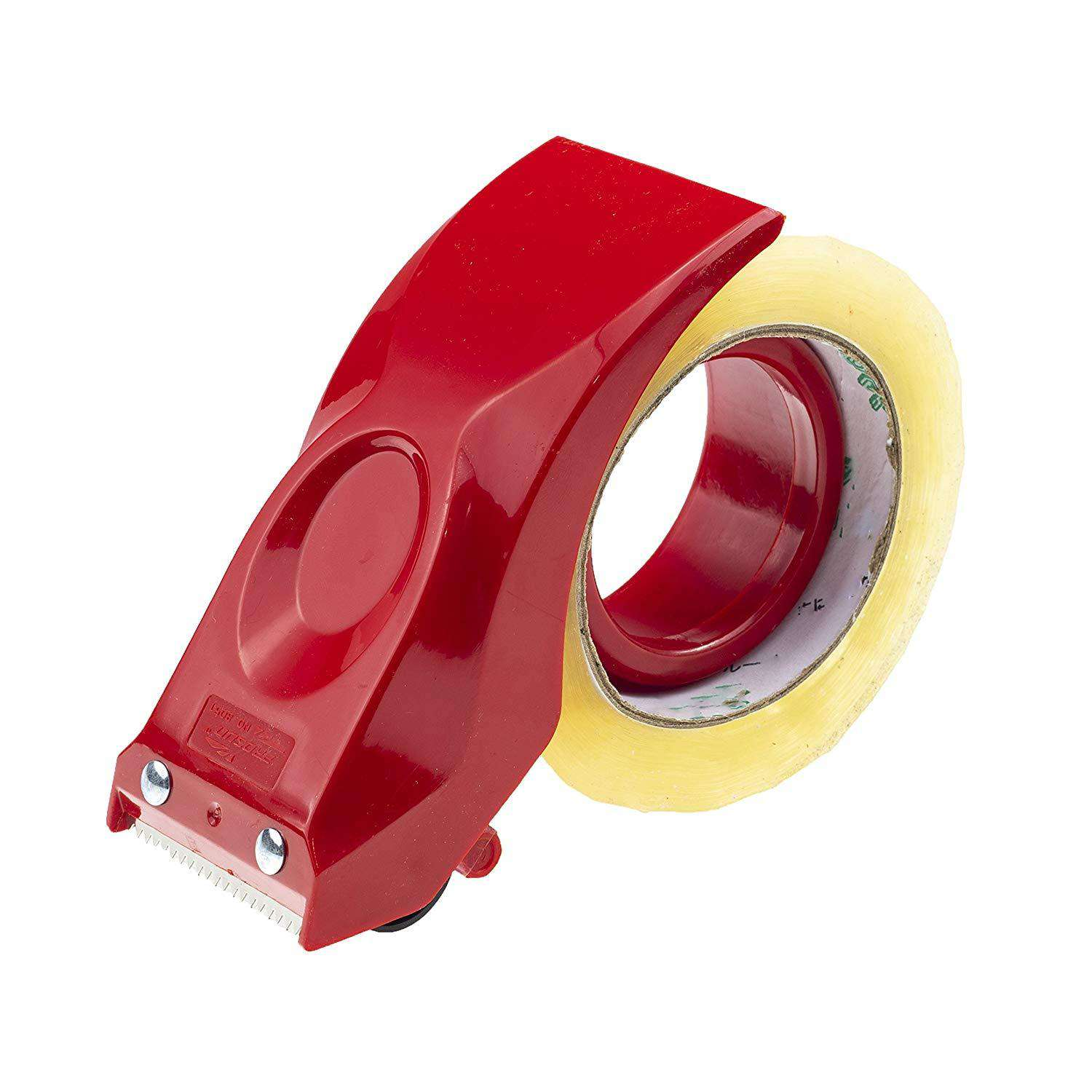 Packing Tape Dispenser Gun by Prosun, 2 Inch (50mm) Lightweight Ergonomic Industrial Heavy Handheld Duty Tape Cutter for Carton, Packaging and Box Sealing Sealer, Red