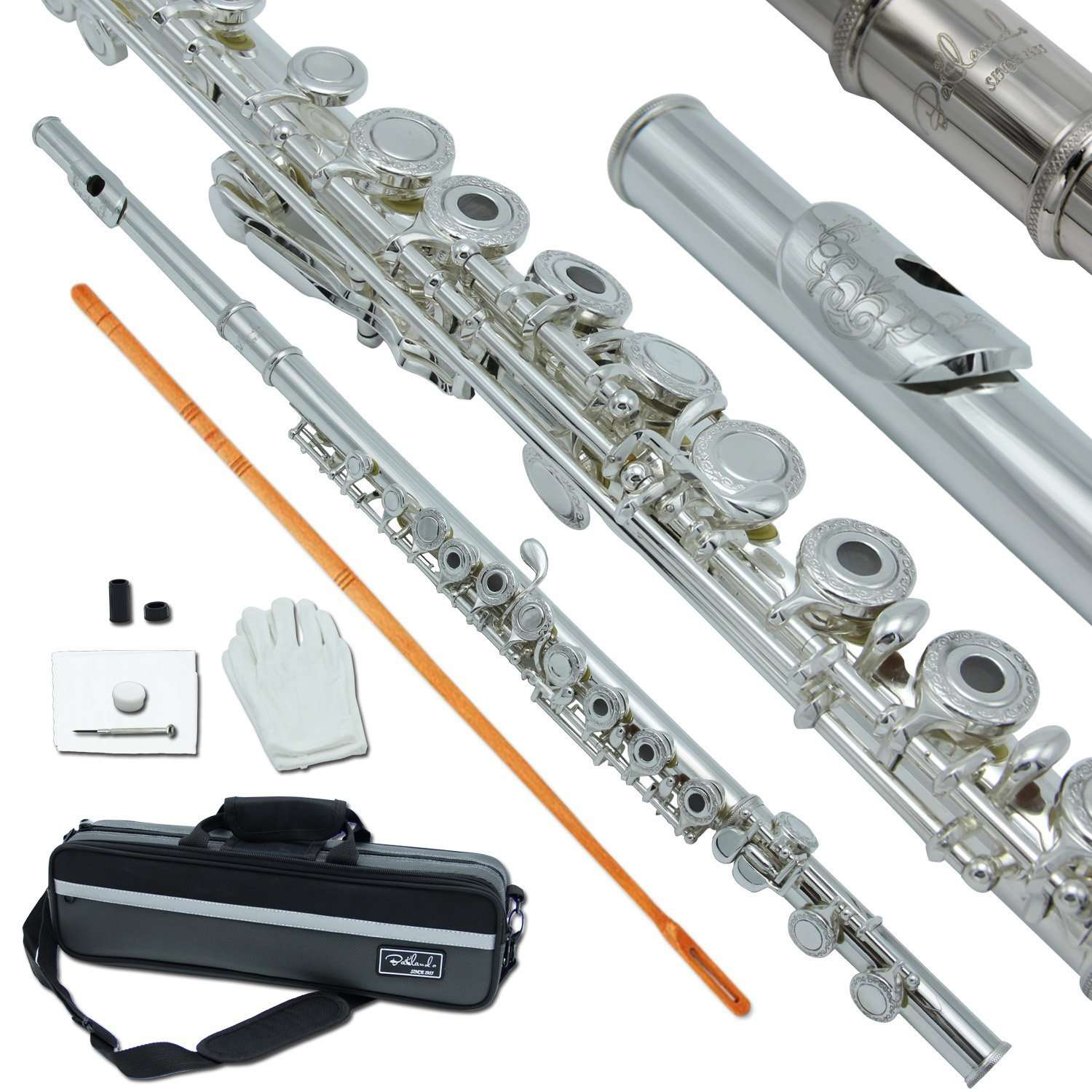 Bailando Silver Plated Carved Pattern Flute, Offset G, B-Foot, Split E Mechanism, Open Hole and Excellent Tremolo