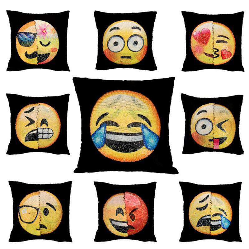 Changing Emoji Sequin Pillow
