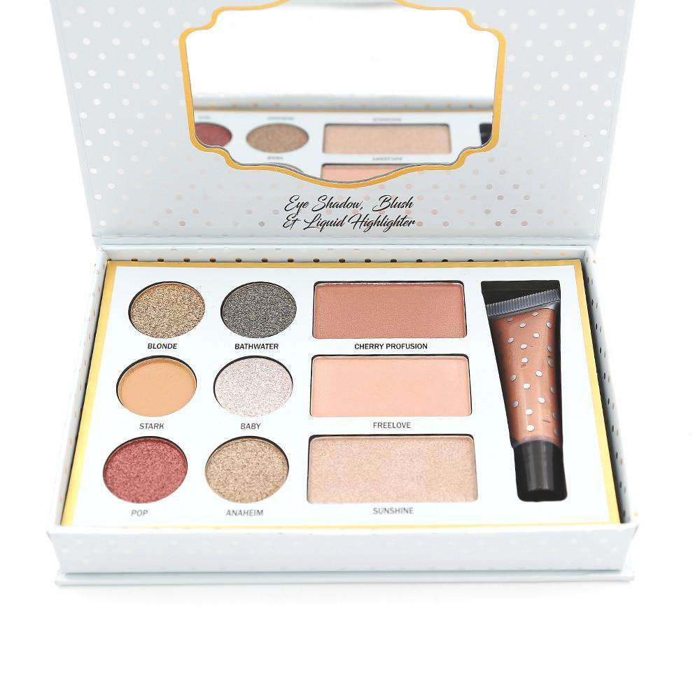 9 Colors Eyeshadow Palette Professional 1 Set  Eyeshadow+ Blush+ Liquid Highlighter Makeup Palette Make Up Kit CS380