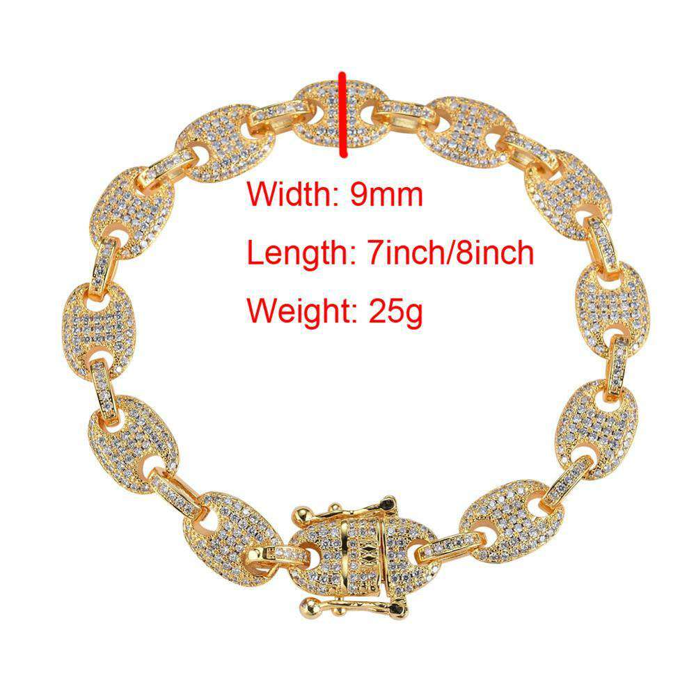 9mm Hip Hop Full Iced Out Bling Bling Bangle Bracelet Copper Zircon Link Chain Bracelet Fashion Jewelry for Rappers