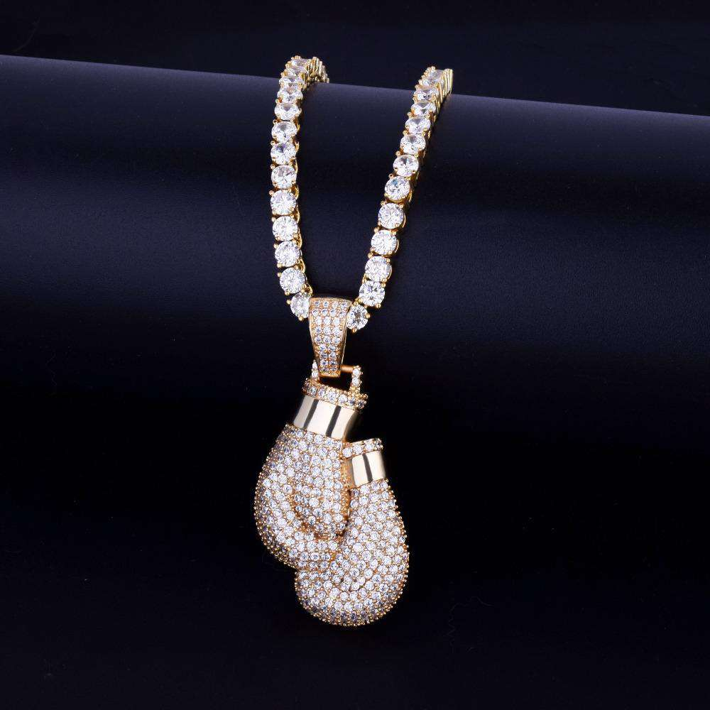 Bling Boxing Gloves Pendant Necklace & Pendant Charm Rope Tennis Chain Gold Color Iced Cubic Zircon Men's Hip Hop Jewelry