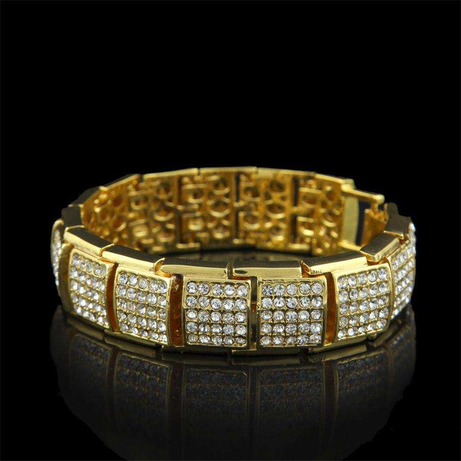 CY&CM 17mm Hip Hop Men Fashion Bling Bling Punk Jewelry Iced Out Full Rhinestone Crystal Silver Gold Color Bangle Bracelets 21cm