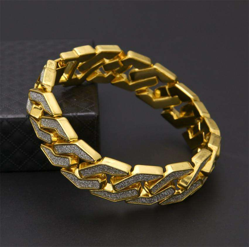CY&CM Sand Blast Bracelet Cuban Chain Link Alloy Iced Out Hip Hop Gold Silver Tone Heavy 16mm Mens Bling Bling Bracelet 8.6