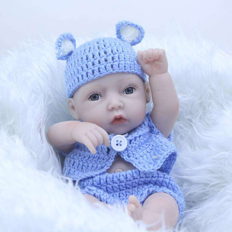 Collectible Reborn Baby Mini Doll 17 Inch Silicone Vinyl Full Body Lifelike Newborn Babies Boy With Clothes Kids Birthday Gift, , www.suppashoppa.co.uk