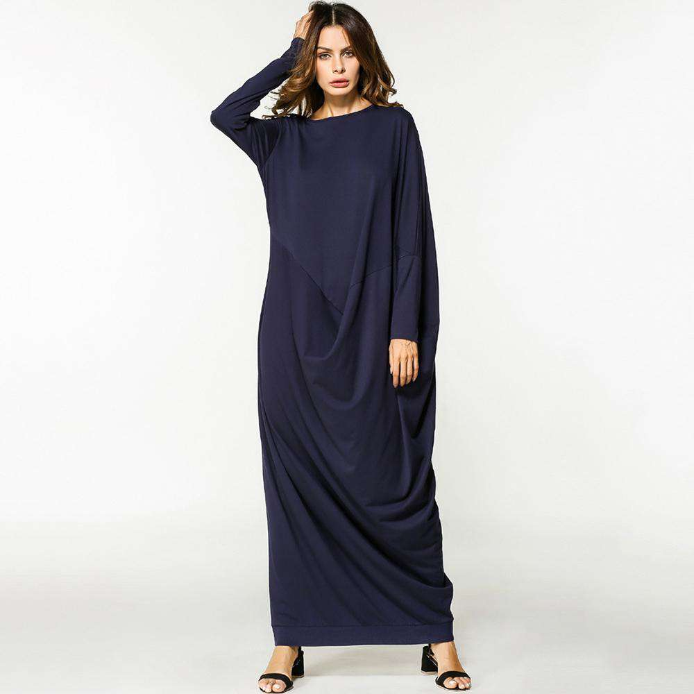Dress women Casual Muslim O neck blue long dress  long batwing Sleeve Loose Middle East Islamic 2018 Spring plus size maxi dress, , www.suppashoppa.co.uk
