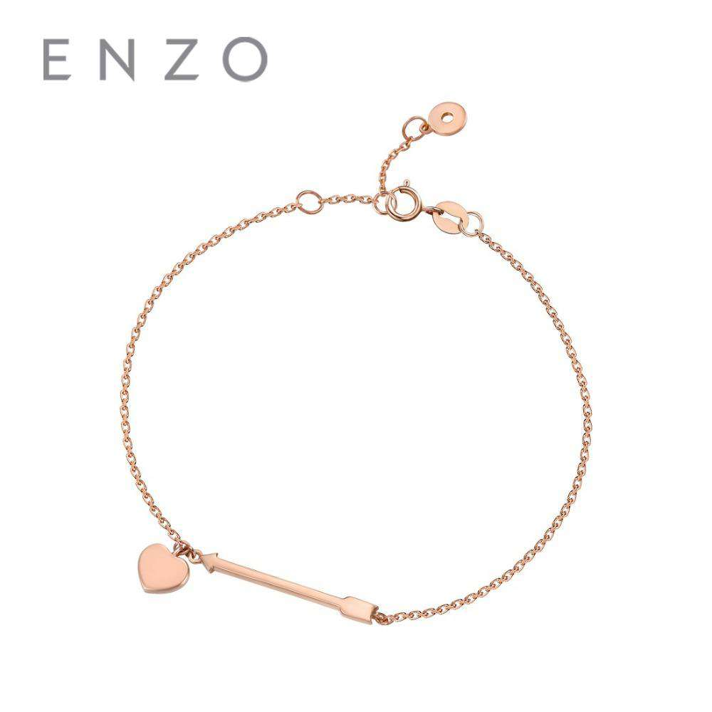 ENZO Pure Solid 18K Rose Gold Au750 Diamond Arrow Heart Bracelet With Ring For Women Girls Fine Jewelry Luxury Chain