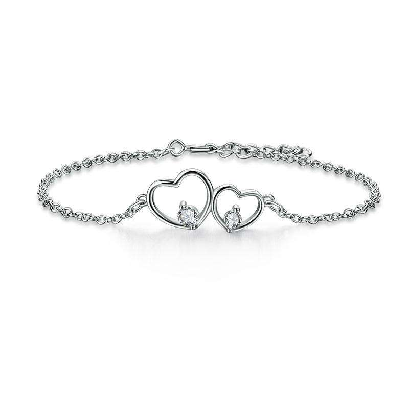 Solid 925 Sterling Silver Bracelet Double Heart Bridesmaid Wedding Gift XFB8019