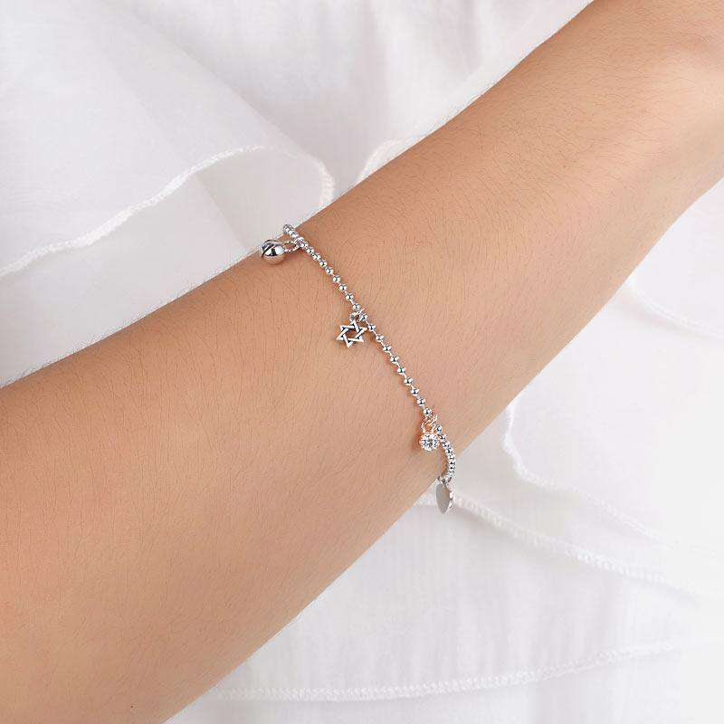 Solid 925 Sterling Silver Bracelet Fashion Bridesmaid Wedding Gift XFB8024