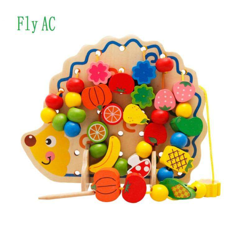 Fly AC Wooden Fruits and Vegetables Lacing & Stringing Beads Toys with Hedgehog Board for Above 3 years old Children, Default title 0, www.suppashoppa.co.uk