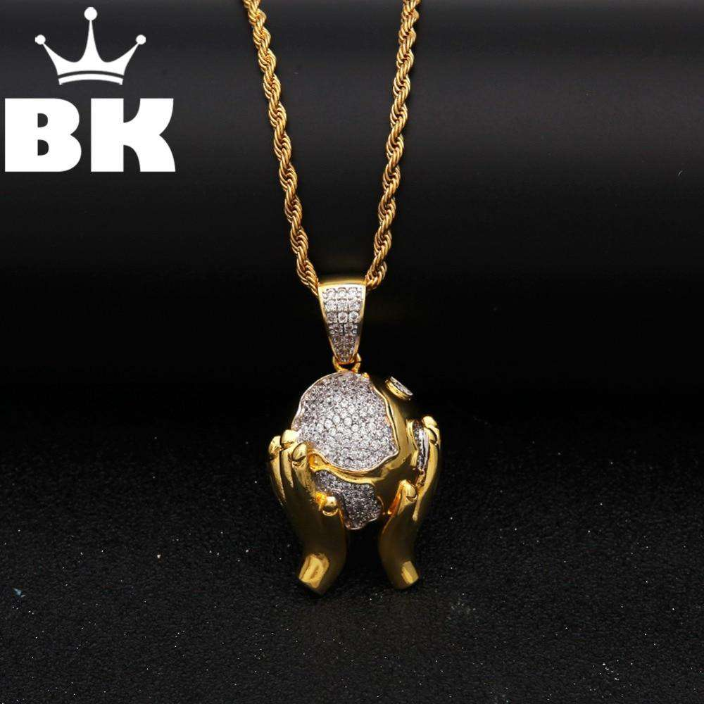 Gold Tone Silver Round Hand to Earth CZ Necklace Copper Alloy Hip Hop Catholic Mens Jewelry Iced Out CZ Pendant