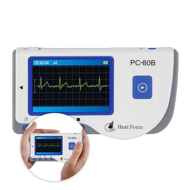 Heal Force PC-80B Advanced Handheld ECG Monitor Mini Portable LCD Electrocardiogram Heart Monitor Monitoring Health Care Machine, Blue And White, www.suppashoppa.co.uk