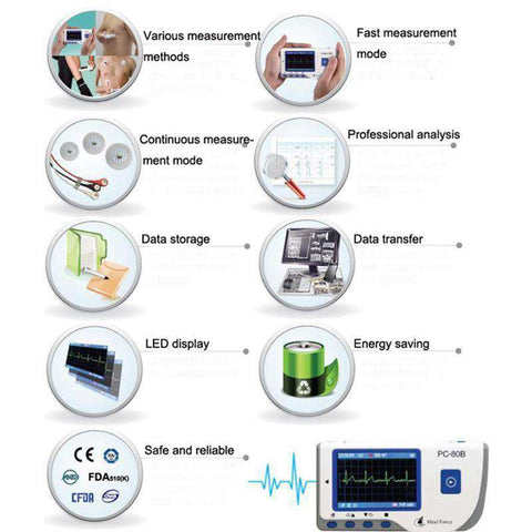 Heal Force PC-80B Advanced Handheld ECG Monitor Mini Portable LCD Electrocardiogram Heart Monitor Monitoring Health Care Machine, , www.suppashoppa.co.uk
