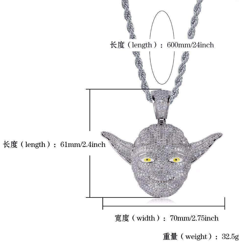 Hip Hop Bling Ice Out AAA CZ Stone Silver Color Star Wars Cartoon Master Yoda Men Pendants Necklaces for Male Rapper Jewelry