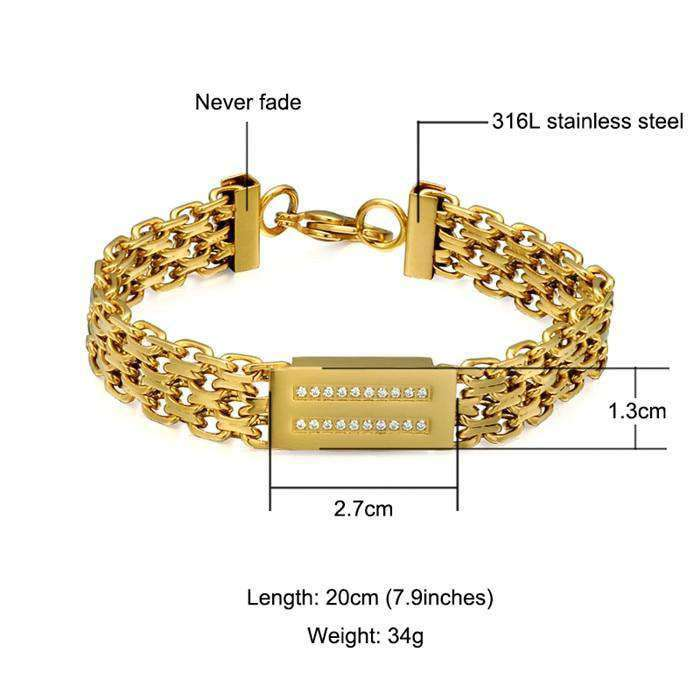 Hip Hop Bling Iced Out Men's Rapper Bracelet 316L Stainless Steel Rhinestone Pave Gold Color Miami Cuban Link Chain Bracelets