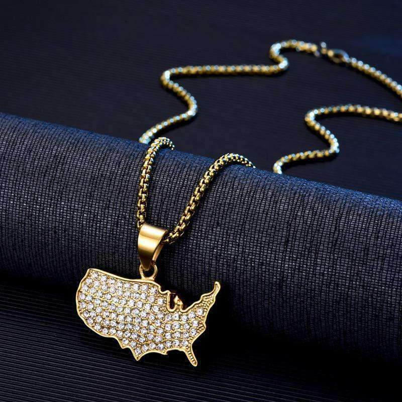 Hip Hop Rhinestones Paved Bling Ice Out Gold Color Stainless Steel United States Map Pendant Necklace for Men Rapper Jewelry