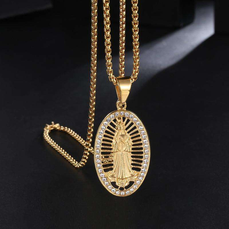 Hip Hop Rhinestones Paved Bling Ice Out Gold Color Stainless Steel Virgin Mary Pendant Necklace for Men Jewelry