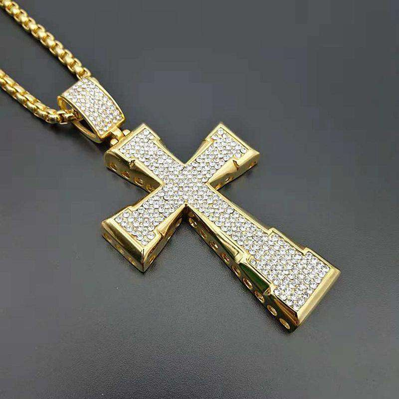 Hip Hop Rock Full Rhinestones Bling Iced Out Gold Color Stainless Steel Cross Pendant Necklace for Men Jewelry with 60cm chain