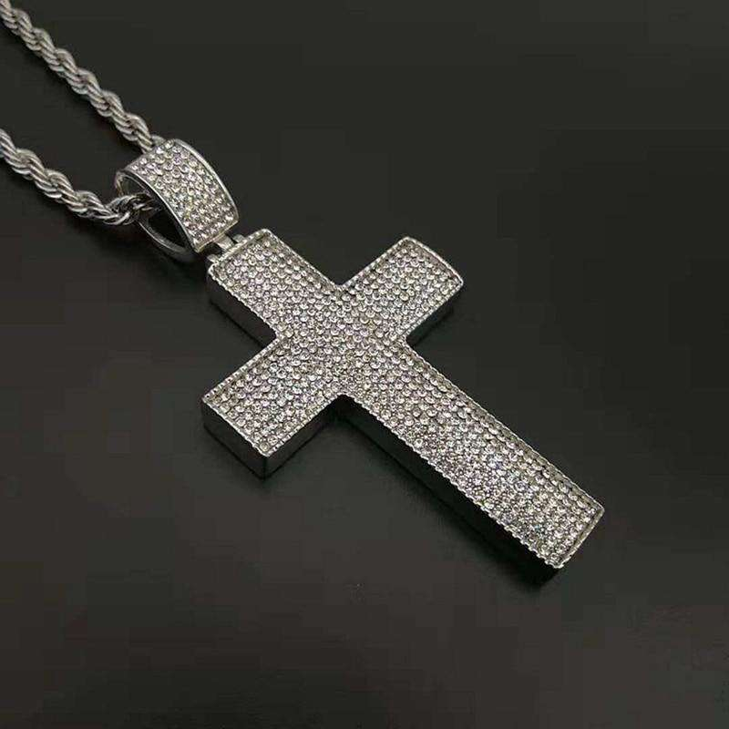 Hip Hop Rock Full Rhinestones Bling Iced Out Gold Silver Color Stainless Steel Cross Pendants Necklace for Men Rapper Jewelry