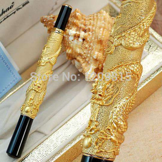 Exquisite golden Dragon pattern roller ball pen