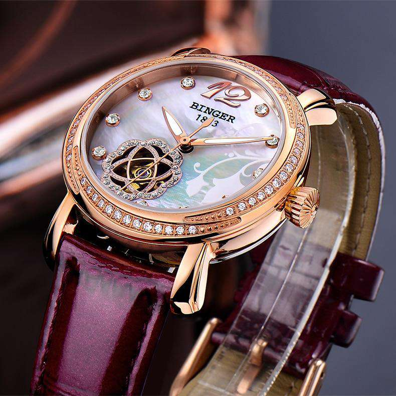 Japan MIYOTA Automatic Watches BINGER Brand Women Mechanical Watch Female Form Queen Series Rose Gold Waterproof Diamond 2017, , www.suppashoppa.co.uk