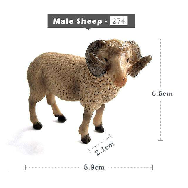 Kawaii Simulation Sheep Lovely Farm animal model Goat Figure plastic toy figurine home decoration accessories Decor Gift For Kid, Male Sheep, www.suppashoppa.co.uk