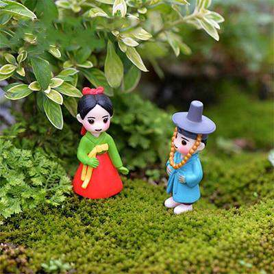 Korean Boy Girl Bonsai Miniature Figurines Wedding Doll Miniatures Couple home Garden Decoration Girl toy DIY accessories gift, Red Blue, www.suppashoppa.co.uk