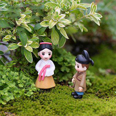 Korean Boy Girl Bonsai Miniature Figurines Wedding Doll Miniatures Couple home Garden Decoration Girl toy DIY accessories gift, Pink Brown, www.suppashoppa.co.uk