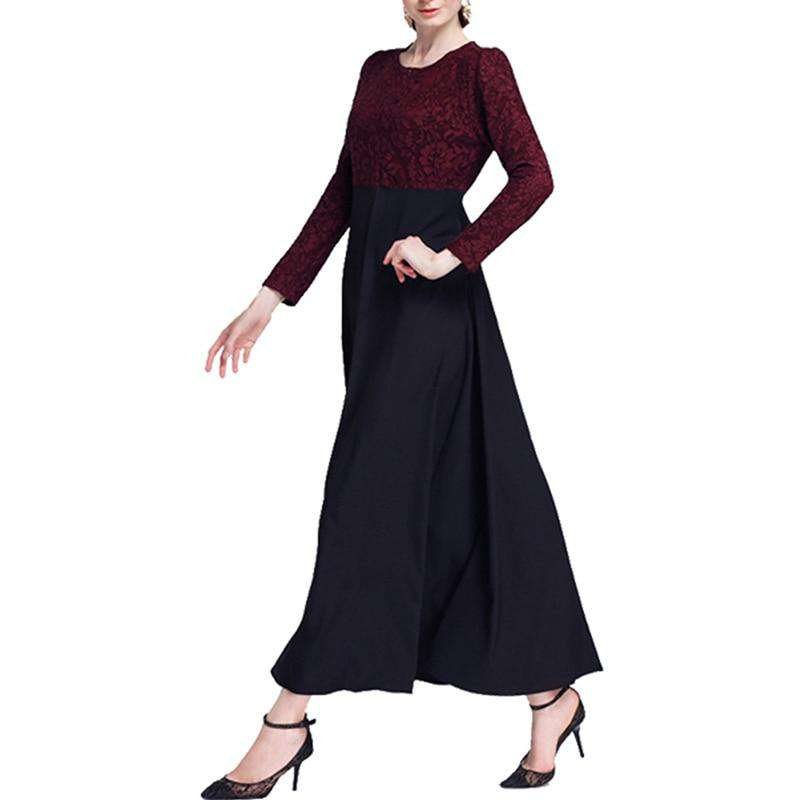 Lace Patchwork Dresses For Women Muslim Robes Long Sleeve Folk Style Arab Long Clothes High Street Office Ladies Autumn Vestidos
