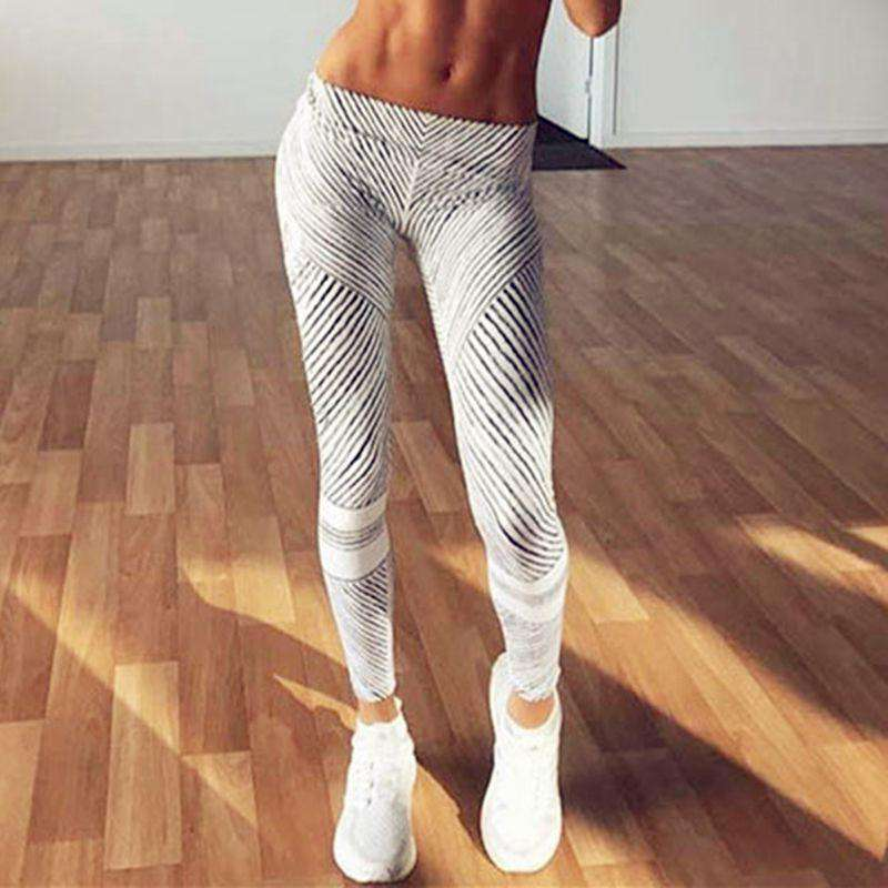 2017 New Autumn Fashion Women Leggings Trousers Casual Workout Pants jeggings Gray Stripe Elastic Fitness Leggings For Women, stripe / L, www.suppashoppa.co.uk