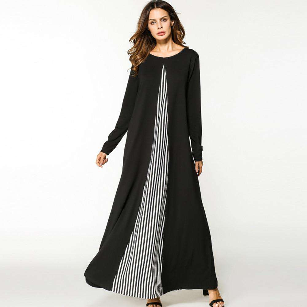 Maxi dress women Spring  Muslim Abaya O neck long dress partchwork Long Sleeve Loose Middle East Islamic hot sale Casual dress, , www.suppashoppa.co.uk