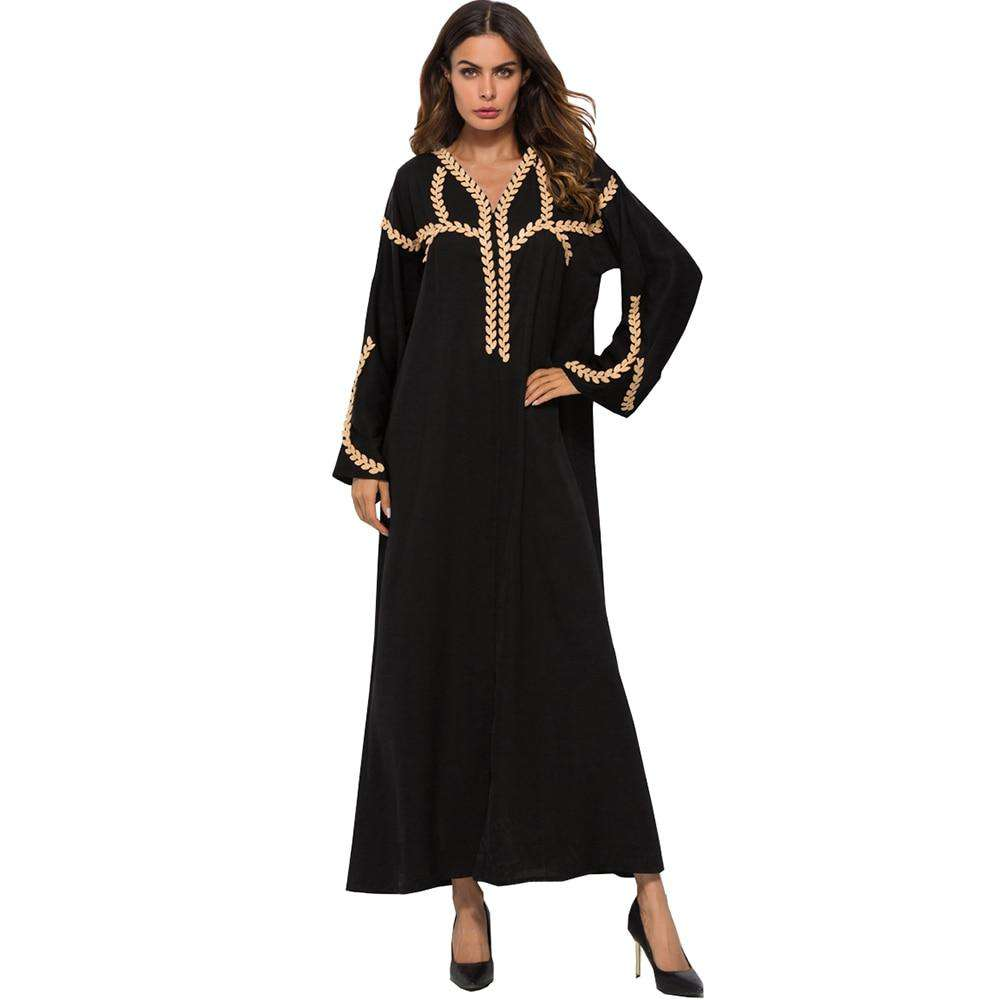 Muslim Dress Women Arab Ethnic Traditional Costumes Long Sleeve Loose Fashion Applique Maxi Robe Floor-Length Islamic Abayas